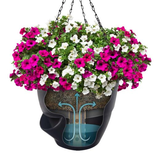 Black Pro Series Self Watering Hanging Basket